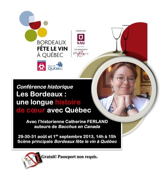 Conférence Bordeaux Fête le vin à Québec