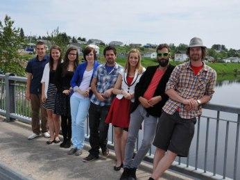 Les comédiens de la pièce Les marches à la pleine lune(Jimmy Doucet Productions) au Lac-Saint-Jean