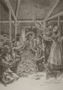 L'épluchette. Gravure de Raoul Barré parue dans Le Monde illustré, vol. 17, no 843 (30 juin 1900), p.144. Domaine public.