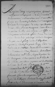 Procès-verbal de dégustation du vin de Saintonge, Québec, 25 septembre 1728.